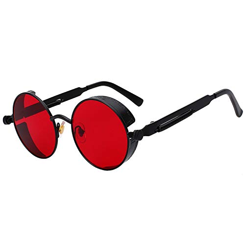 Round Metal Sunglasses Steampunk Men Women Fashion Glasses Designer Retro Vintage Sunglasses UV400,Black Sea Red ()