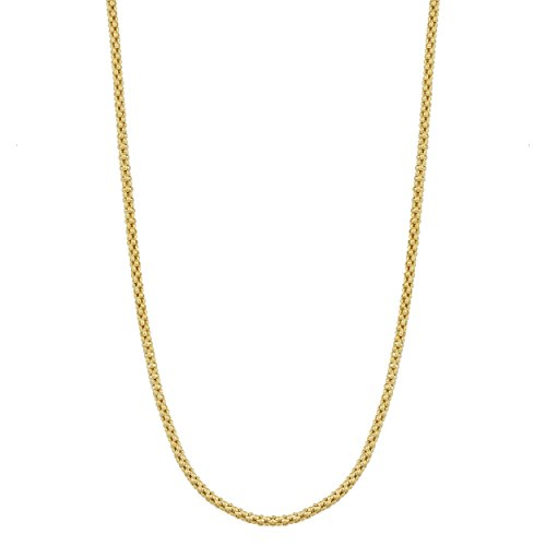 (Kooljewelry 14k Solid Yellow Gold 1.4 mm Popcorn Chain Necklace (16 inch))
