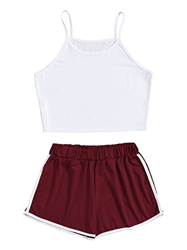 (SweatyRocks Women's 2 Piece Outfit Strapy Crop Top and Shorts Set Tracksuits White Red)