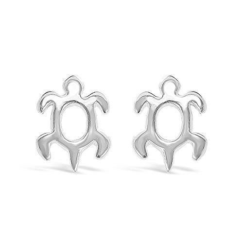 925 Solid Sterling Silver Tiny Sea Turtle Stud Earrings -  Women,Men, Unisex Dainty Animal Ocean Jewelry