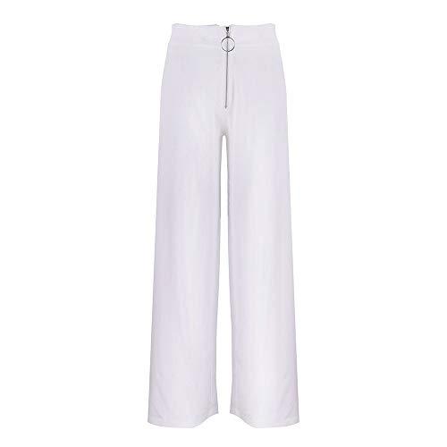 Geetobby Women Wide-leg Pants Split-leg Zipper Solid High Waist Loose Trousers by Geetobby Women Pants