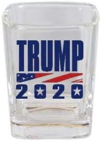 Donald Trump 2020 MAGA MAKE AMERICA GREAT Sqaure Shot Glass Novelty Gift Campaign Button Logo