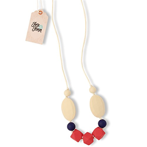 Fox and Finn 'Madison' Silicone Teething Necklace for Babies | Safety Knotted Silk Rope | Does Not Pull Out Hair | 14 Inch Drop (coral + cobalt + (Fox Coral Necklace)