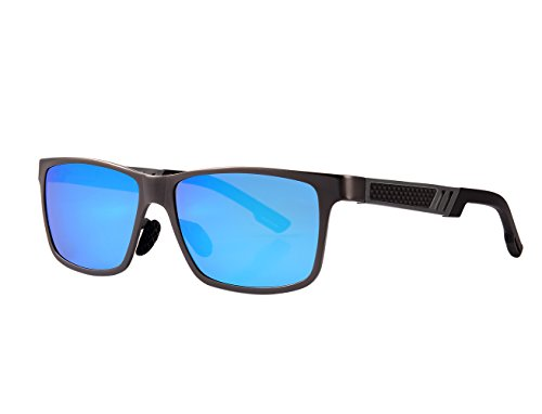 QORENY Men's Hot Retro Driving Polarized Wayfarer Sunglasses Al-Mg Metal Frame Ultra Light (Blue, As - Blue Wayfarer Lens