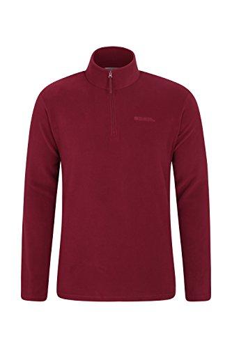 Mountain Warehouse Mens Camber Fleece - Lightweight Warm Pullover Dark Red Medium