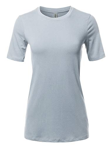 Basic Solid Premium Cotton Short Sleeve Crew Neck T Shirt Tee Tops Light Grey XL