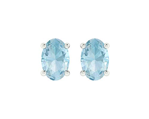 Euforia Jewels 14K White Gold Top Quality Natural Aquamarine 6X4 MM Oval Cut Stud Earrings With Silver Sillicon Post For Women ()