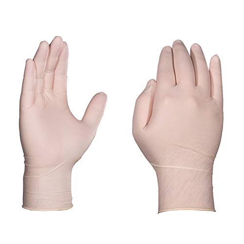 AMMEX Industrial Latex Disposable Gloves - 4 Mil, White, Textured, Powder-Free, Ambidextrous, Small, Case of 1000]()