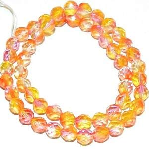 Steven_store CZ460 Orange Red Bi-Color 8mm Fire-Polished Faceted Round Czech Glass Beads 16