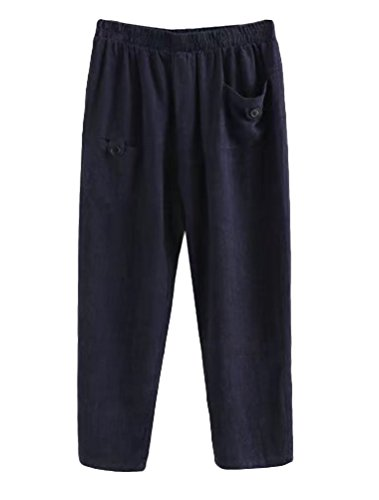 Minibee Women's Elastic Waist Casual Crop Linen Pull On Pants Navy XL ()
