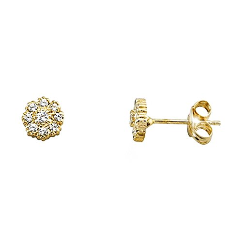 Boucled'oreille or 18k zircone cubique cercle [AA6207]