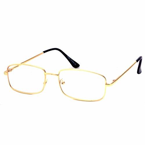 VINTAGE Rectangle Metal Optical Frame Unisex Clear Lens Eye Glasses - Rectangle Gold Glasses