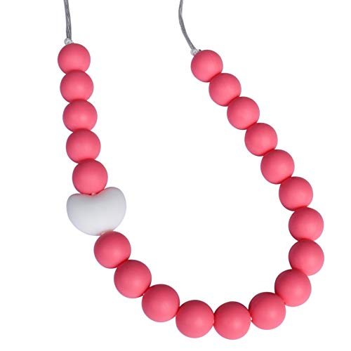 Munchables Pearl Roses - Sensory Chew Necklace (Coral with Heart)