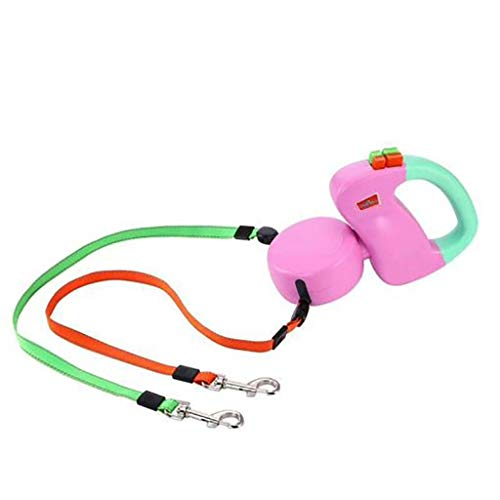Iulove Retractable Pet Dog Double Lead Leash Dual 2 Dog 50 Pounds Per Dog (Pink) ()
