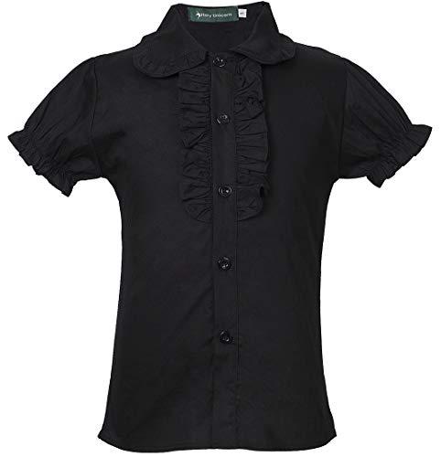 Big Girls School Uniforms Short Puff Sleeve Blouse Button-Down Shirts with Ruffle Trim 8 Black