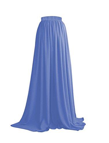 pour Jupe Taille Haute Longue Mariage Jupe Maxi Soire CoutureBridal Femme Chiffon Bleu 14XUxOw