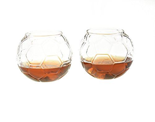Soccer Whiskey Glass – 10 oz Uniquely Shaped Rocks Glass (other designs available) for Bourbon, Scotch, Brandy - Old Fashioned / Rocks Glasses from Prestige Decanters (Set of Two - Soccer Ball) - Foot Brandy