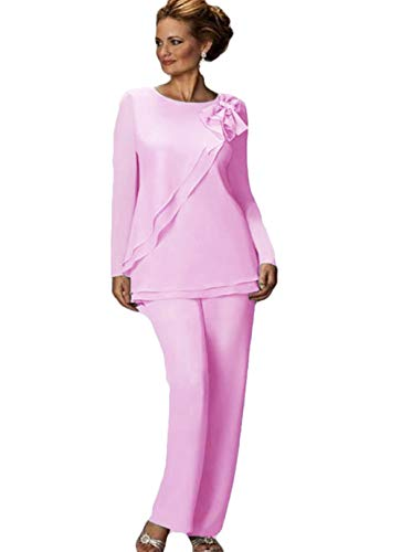 Women's Pants Suit Mother of The Bride Groom Ladies Chiffon Wedding Party Evening Gown Pink