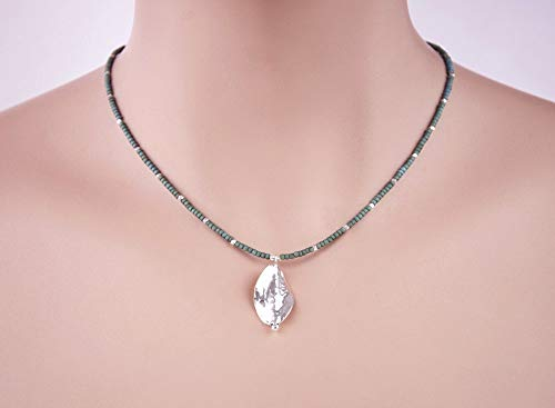 .999 Fine Silver Leaf Pendant Beaded Necklace 16 inches LLD Jewelry