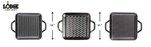 Lodge Chef Collection - 11 Inch Cast Iron Chef Style Square Grill Pan Salted Salad