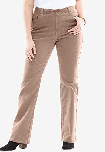 Wale 14 Corduroy Pants (Woman Within Plus Size Petite Bootcut Stretch Corduroy Jean - Almond Taupe, 14 WP)