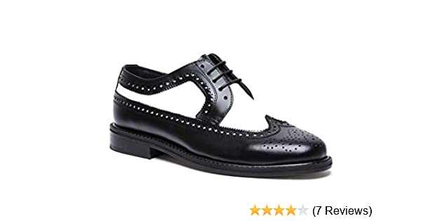 Brentano Men's Black and White Wingtips 1920s 1940s Vintage Style Leather Two Tone Brogue Spectator Shoes