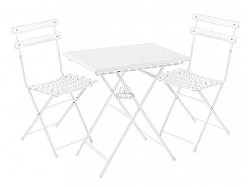 2 Sedie Emu Set da Esterno Arc En Ciel Bianco Tavolo 70x50cm