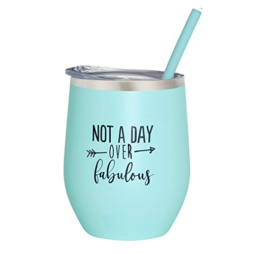 (Not A Day Over Fabulous | Birthday Wine Glass | 12 oz Mint Stainless Steel Vacuum Insulated Wine Tumbler with Lid and Straw (ENGRAVED) | Perfect Birthday Gift for Her)