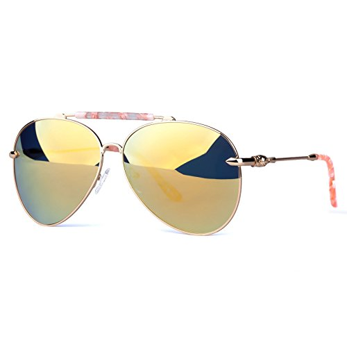 COLOSSEIN+Fashion+Sunglasses+Oversized+Metal+Frame+Mirror+Polarized+Lenses+for+Women+Party+style