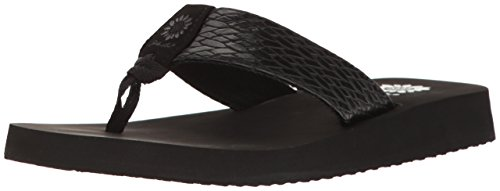 Yellow Box Women's Flax Wedge Sandal, Black, 8.5 M - Yellow With