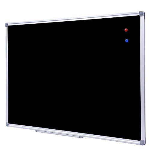 Steel Frame Chalkboard Aluminum - 36 x 48 Inch School Large Black Chalkboard for Wall, Hanging Magnetic Black Chalk Board with Aluminum Frame and Marker Tray