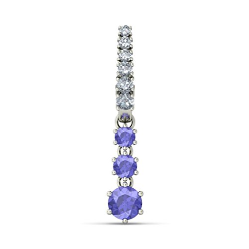 18K Or Blanc 0,37carat au total Round-cut-diamond (IJ | SI) et tanzanite Boucles d'oreilles pendantes