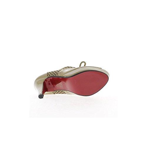 Richelieux femme taupes ouverts à talons de 12cm et plateforme de 2,5cm