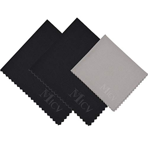 MICV Microfiber Cleaning Cloth - for Lens Eyeglasses,Camera, Lens, Phone, Tablet, Glasses (6x7 in, Black+Grey)