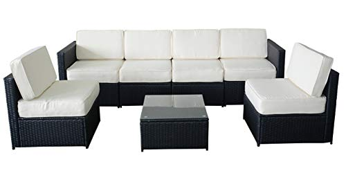 MCombo 6085-S1007 7 Piece Wicker Patio Sectional Indoor Outdoor Sofa Furniture  Set, Black - Amazon.com : MCombo 6085-S1007 7 Piece Wicker Patio Sectional Indoor