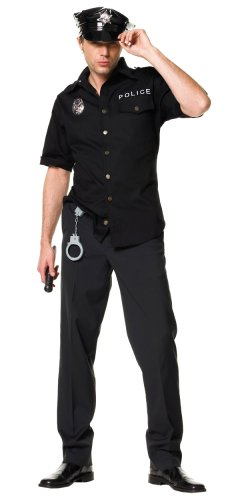 [Leg Avenue Men's 4 Piece Policeman Costume, Black, Medium / Large] (Halloween Costumes For 4 People)