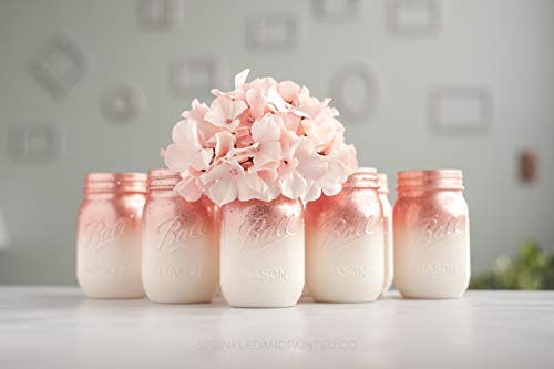 6 Ombre Rose Gold Mason Jar Vases for Wedding Centerpieces or Home Decor Organizing Storage (Hand Painted Rose Vase)