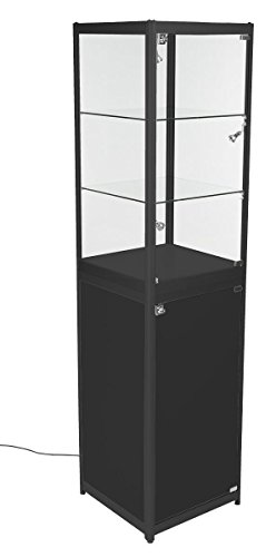 Displays2go, Portable Glass Retail Tower, Black Aluminum Frame and Melamine Finish, Tempered Glass Shelves – Black Finish (2TCBLKSS) by Displays2go