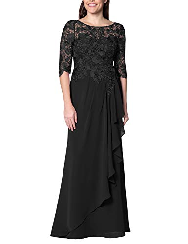(EDressy Chiffon Mother of The Bride Dresses Long Evening Formal Gowns Flora Lace Prom Party Dress Half Sleeves Black US12)