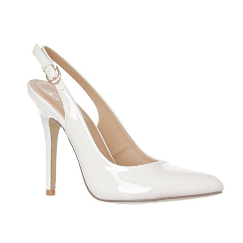 Riverberry Women's Lucy Pointed-Toe, Sling Back Pump Stiletto Heels, White Patent, 8 ()