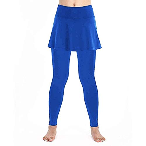 (MoLiiy Women's Casual Athletic Stretch Skirt Leggings Tennis Pants Sports Fitness Culottes (Blue, XL))