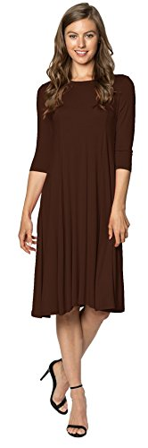 Womens Stylish Trapeze Midi Dress A-Line Dress (Brown-M) (In Usa Women Clothing Made)