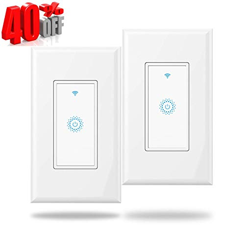 Wifi Light Switches Smart Switch, Alexa Switch Compatible with Google Home and IFTTT, Wireless remote control, Neutral wire required, smart Hub for light bulbs (2 Pack)