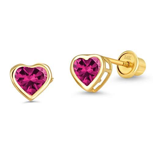 14k Yellow Gold Red July Heart Bezel Cubic Zirconia Children Screwback Baby Girls Stud - Earrings Heart Gold Red
