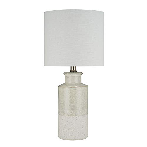 Beige Ceramic Table Lamp - Stone & Beam Two-Toned Ceramic Base Table Lamp, Bulb Included, 19.75