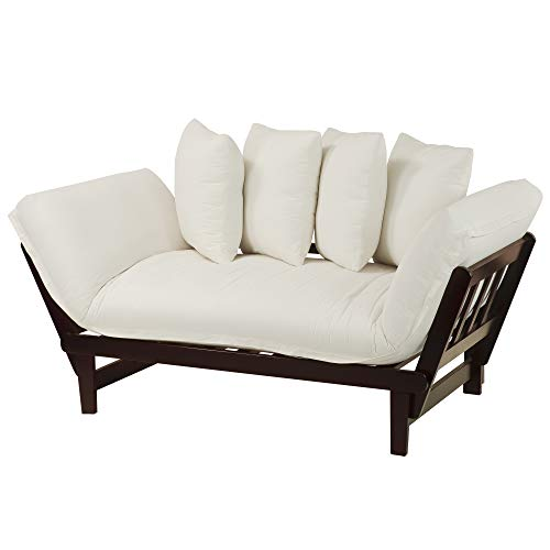 Casual Home Casual Lounger Sofa Bed Fabric Cover, Single, Espresso Frame/Ivory (Bleached Online Furniture Wood)