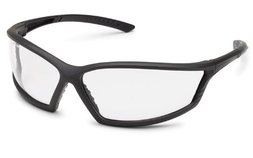 Gateway Safety 41GB80 4x4 Contemporary Wraparound Safety Glasses, Clear Lens, Black Frame