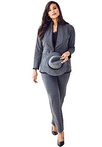 Roamans Womens Pant Suit - Roamans Women's Plus Size 2-Piece Ponte Pantsuit Ruffle Trim - Black Herringbone, 20 W