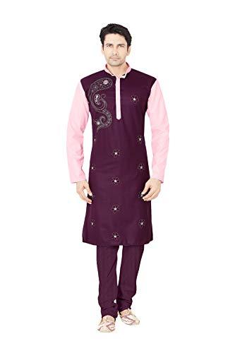 daindiashop-USA Indian Pakistani Kurta Pajama Partywear Wedding Dress Kurta in Purple Cotton Polyster Fancy Fabric by daindiashop-USA