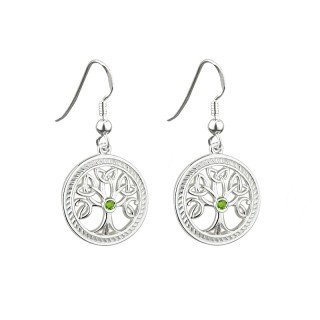 Sterling Silver Tree of Life Drop Earrings - Made in Ireland by Failte